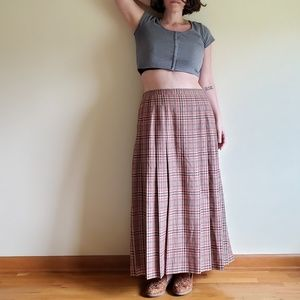 VTG Plaid Brown/Tan/Pink Pleated Plaid skirt- 35""
